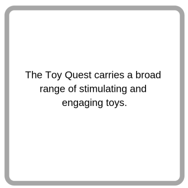 We carry a broad range of stimulating and engaging toys.